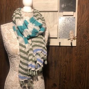 Beautiful teal, green and white stripped scarf